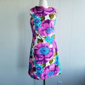 1960s Alice Polynesian Fashions Floral Shift Dress